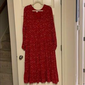 Old navy vneck long sleeve red dress size XXl